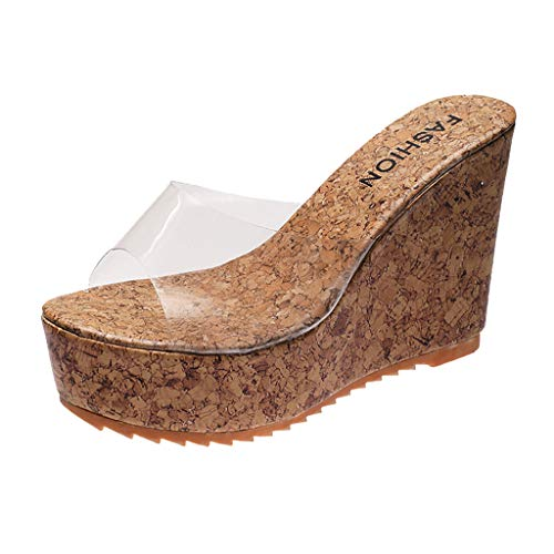 Review Of Women Sandals, KCPer Fashion Casual Summer Transparent Slipper Height Platform Wedges High...
