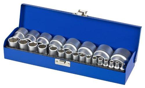 Zoll Werkzeug Steckschlüsseleinsätze 1/4' und 1/2' Antrieb Set 24 tlg.
