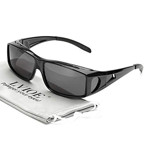 LVIOE Wrap Around Sunglasses, Polarized Lens Wear Over Prescription Glasses, Fit Over Regular Glasses with 100% UV Protection (Black Frame Polarized Grey Lens Wrap Around Sunglasses)