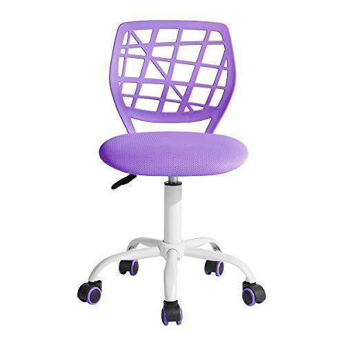 Homy Casa Silla de escritorio giratoria ajustable silla de oficina silla de tela ergonómica silla de trabajo sin reposabrazos, color morado