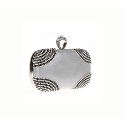 Ys-s Personalización de la Tienda Bolso de la Cadena de Embrague Hecha a Mano de Diamantes para Mujer (Color : Silver, Size : 17 * 5 * 10)