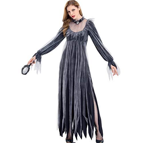 GBYAY Disfraz de Fantasma Sangriento para Mujer Vestido de Novia Fantasma de Terror Disfraz de Fiesta de Disfraces de Halloween Disfraz de Escenario Negro XL