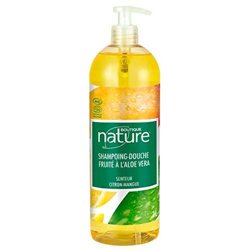 Boutique Nature Shampoing-Douche Fruité Senteur Citron Mangue Certifié Bio Flacon-Pompe 1 L