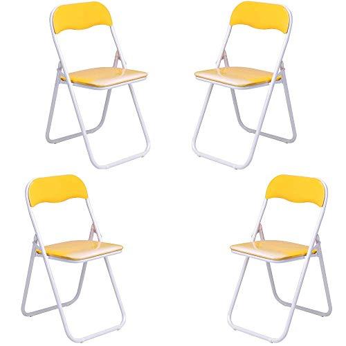 PiuShopping - Juego de sillas plegables de exterior, de acero barnizado, acolchadas, ahorran espacio y modernas, 45 x 48 x 80 cm, amarillo