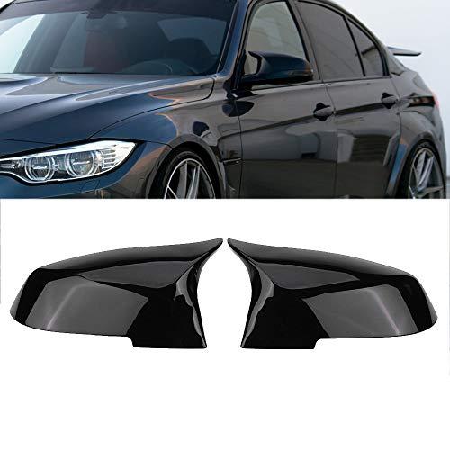 Ricoy para F20 F21 F87 M2 F23 F30 F36 X1 E84 tapa de espejo retrovisor negro brillante -M4 estilo (Paquete de 2)