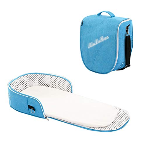Nai-storage Portable Voyage du Nouveau-né Lounger, Auto-Conduite Visite de Pique-Nique Amovible Support de Voiture - biberon Diaper Toy Maman Sac de Rangement (Color : Blue, Size : 0-2 Year Old Baby)