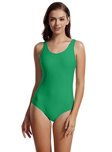zeraca Women's Sport Racerback One Piece Swimsuit Swimwear (L14, Polo Match Green)