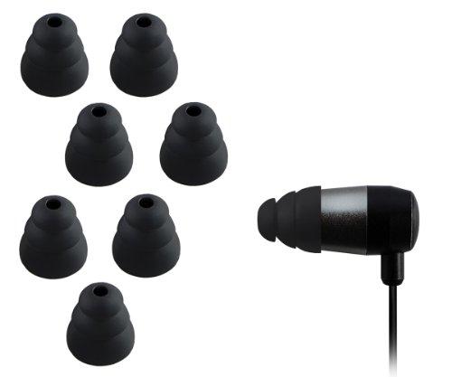 Xcessor Triple Flange 4 Paar (Satz Mit 8 Stück) Gummi Silikon Ohrpolster Ohrstöpsel Für In-Ear Ohrhörer. Kompatibel Mit Den Meisten In-Ohr Markenkopfhörern. Größe: M (Mittel). Farbe: Schwarz