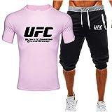 Camiseta Estampada Mangas Y Pantalones Cortos De Verano, UFC Impreso MMA Fitness Sportswear Traje, Regalos para Fans (Size : X-Large)