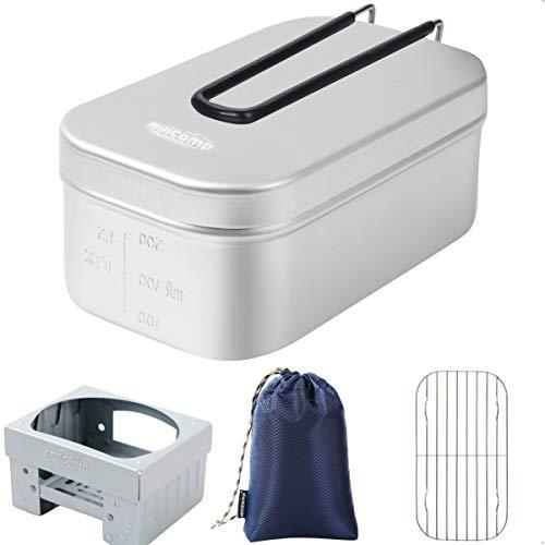 MiliCamp メスティン 飯盒 MR-250 Pro メモリ付き 吹きこぼれ抑止溝付き アウトドア 調理器具 ハンゴウ キャンプ飯 2合 登山 バーベキュー ツーリング (4点セット)