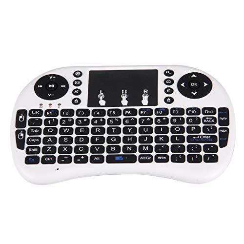 RUNNA I8 2.4GHz Mouse Mouse Mini Teclado inalámbrico con Receptor USB Incorporado para Android TV Box/PC (Blanco)