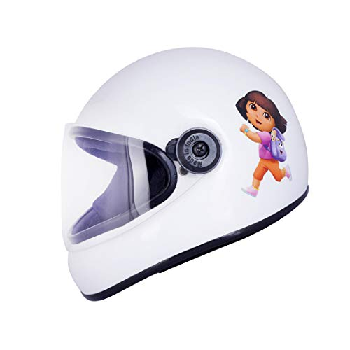 Western Era Stylish Explorer Dora Character Sticker Full Face Helmet for Kids    Baby Safety and Comfort    (3-12 Years) (White Glossy)