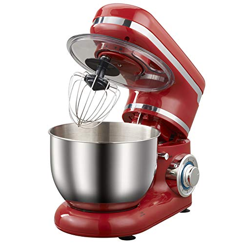 YLEI Küchenmaschine, Knetmaschine, Rührmaschine, 1200W mit 4 L Edelstahl-Rühlschüssel, Rührbesen, Knethaken, Schlagbesen und Spritzschutz, 6 Geschwindigkeit Geräuschlos Teigmaschine, Rot