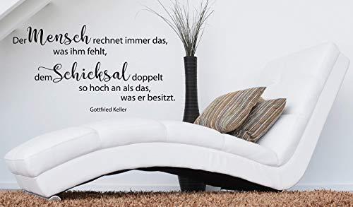 *NEU* Wandaufkleber/Wandtattoo/Wandsticker - Spruch/Zitat ***Der Mensch und das Schicksal.*** (Größen.- und Farbauswahl)