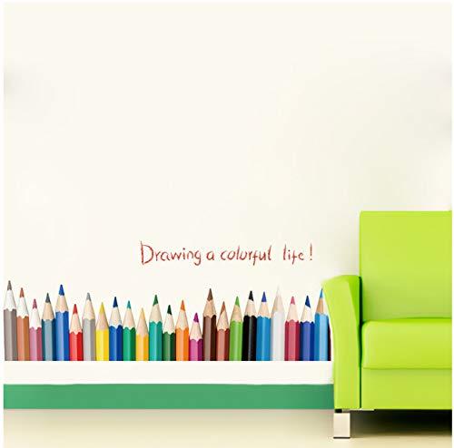 GKAWHH Kreative Bleistift-Zeichnung, Sockelleiste, Wandaufkleber, Zeichnen ein farbenfrohes Leben, Kinderzimmer, Balkon, Schlafzimmer, Dekoration, untere Linie Aufkleber, 136 x 40 cm