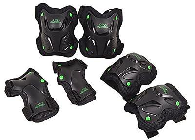 Schonerset Schutzausrüstung Set Protektoren Knieschoner Inline Skates S-XL 3Farben H407 (Schwarz, L)
