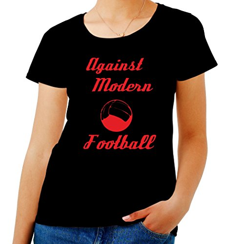 T-Shirt para Las Mujeres Negro WC0176 Against Modern Football