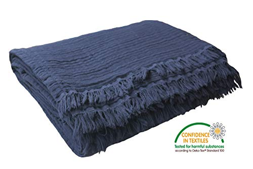 Pre-Washed 100% Organic Muslin Cotton Throw Blanket for Couch, Sofa, Adults and Kids, Breathable Plant Dyed Super Soft Throw, Cozy, Warm Lightweight Blanket, All Seasons (55'x60' inches) (Navy Blue)