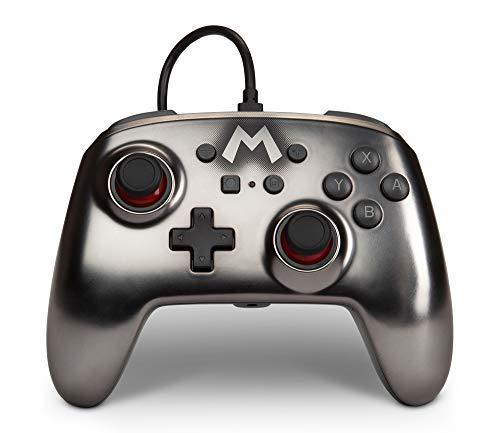 Verbesserter kabelgebundener PowerA-Controller für Nintendo Switch – Mario Silver, Gamepad, kabelgebundener Videospiel-Controller, Gaming-Controller