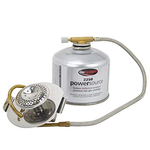 Go System Adapt - Kocher-Gas-Umrüstadapter für Brennspirituskocher funktioniert mit Flüssig- & Dampfgas 170g 100x86x73mm 250