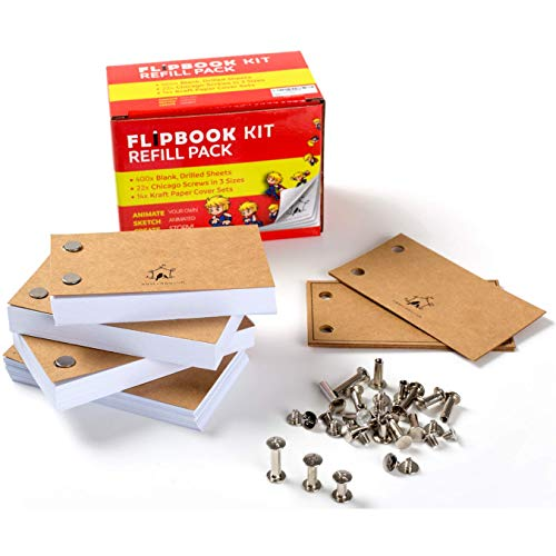 """Drawing Mlife Blank Flipbook Kit Cartoon Creation 100 Sheets // 200 Pages 8 Pack 4.5/""""/×2.5/"""" Flip Book with Binding Screws for Animation Sketching"""
