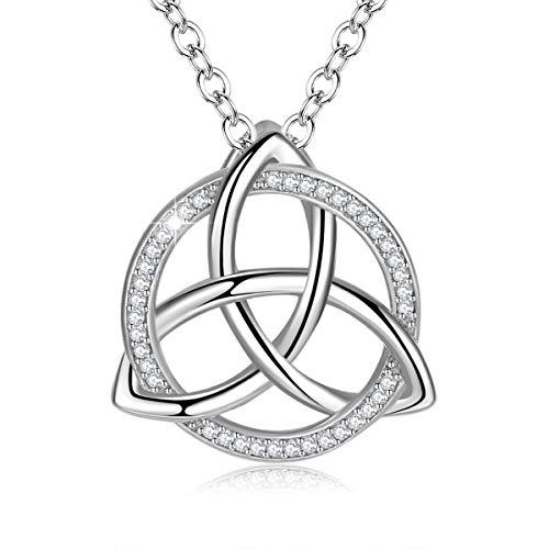 INFUSEU premium 925 Mujeres Sterling Collar, nudo celta irlandesa del nudo de amor colgante collar con cadena de 18' joyería, regalo para ella