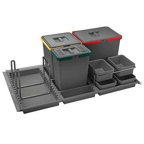 ELLETIPI Metropolis ptc28090503F C10PPV Papelera Reciclaje de cajón, Gris, 81x 46x 28cm