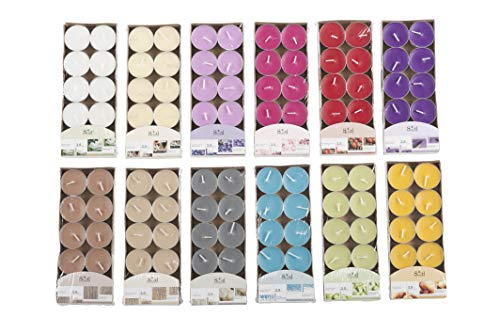 Invero Pack of 120 Mixed Coloured Tealight Scented Candles - Ideal for all Living Rooms, Hallways, Kitchen, Lounge and more