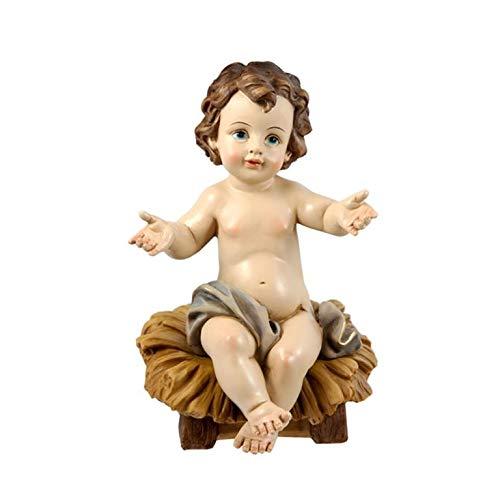 Momparler1870 Figura Niño Jesús Sentado en Cuna - 23cm - Resina Pintada a Mano