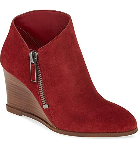 1. State Kaleb Wedge Womens Anke Bootie Rosso Red Suede Low Cut Wedge Bootie (7.5, Rosso)