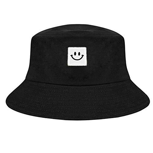 Chalier Smileygesicht Fischerhut für Männer Frauen Mode Draussen Baumwolle Bucket Hat Sonnenhut Weich und Atmungsaktiv Faltbarer Strandhut Sommerhut Schwarz