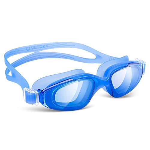 vetoky Occhialini da Piscina, Anti-Appannamento Occhialini da Nuoto Agonistico Protezione UV Impermeabile per Adulti, Bambini