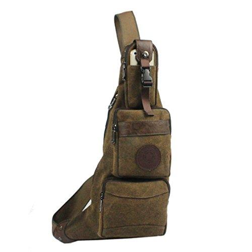 Xieben Herren Leinen Segeltuch Sling Bag Umhängetasche Brusttasche Brustbeutel Crossbody Bag Rucksack Freizeittasche Bote Schulter Schlinge Brust Tasche für Reise Wandern Reiten (Coffee)