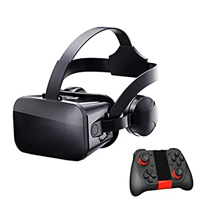 Peyan VR Headset with Remote Controller Virtual Reality Headset 3D Glasses, Anti-Blue-Light Lenses, Stereo Headset, for All Length Below 6.4 inch Include All The IOS And Andriod System Phone