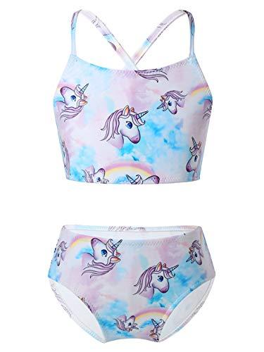 TiaoBug Mädchen Meerjungfrau Bikini Tankini Set Fischschuppen Crop Top und Badehose Modisch Prinzessin Strandkleidung Einhörner 110-116