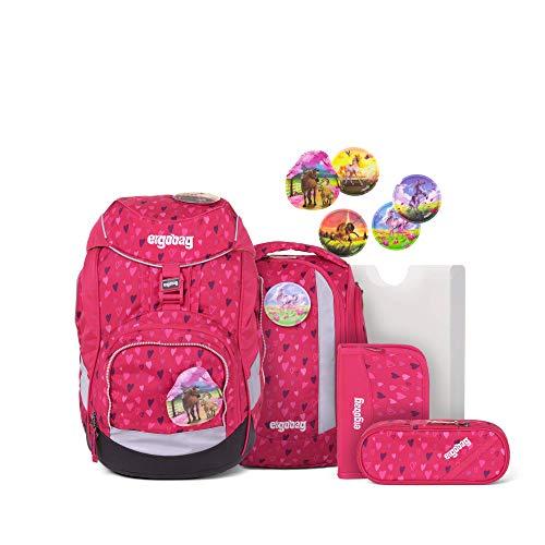 Ergobag Pack HufBäreisen, ergonomischer Schulrucksack, Set 6-teilig, 20 Liter, 1.100 g, Pinke Herzen