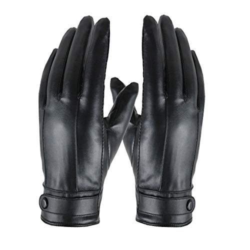 Men Black Driving Leather Gloves - Winter Touchscreen Soft Sport Cycling Warm Gloves by Long Keeper