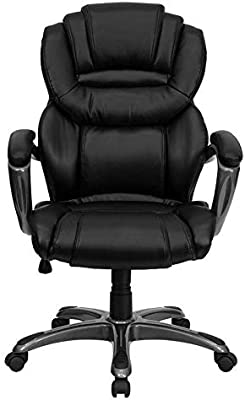 BLACK LEATHER EXECUTIVE COMPUTER OFFICE DESK CHAIR