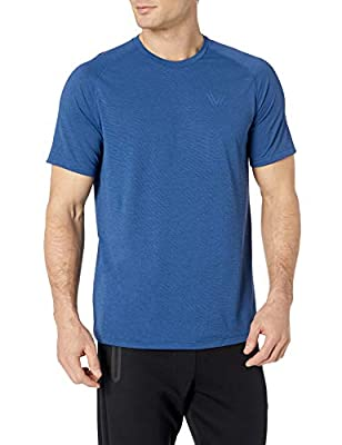 Amazon Brand - Peak Velocity Men's VXE Short Sleeve Quick-dry Loose-Fit T-Shirt, Victory Blue Heather, Large