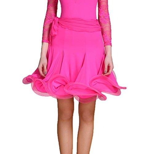 Wangmei Unter Kleid Lateinischer Tanz Rock Ausbildung Kostüm Einfarbig EIS-Seidenstoff, Rose Red, XXL