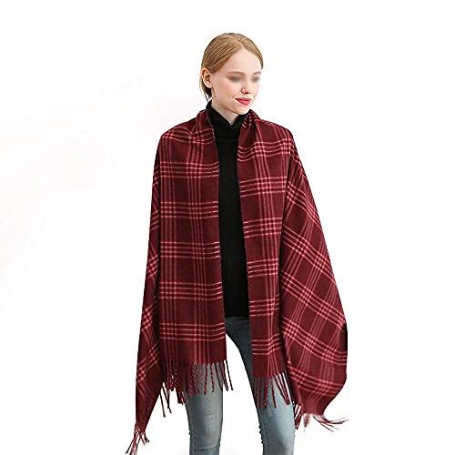 COLiJOL Bufanda Gruesa para Mujer Las Bufandas Y el Mantón de Poliéster para Mujer de Otoño E Invierno Son Adecuados para el Uso Diario (Color: Rojo, Tamaño: 190X80Cm),Rojo,el 190X80Cm