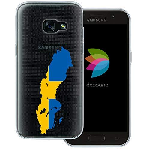 dessana Sverige transparent skyddsfodral mobiltelefon fodral fodral väska för Samsung Galaxy A J, Samsung Galaxy A3 (2017), Sverige karta