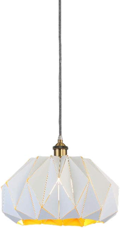 WENL Eisenkunst Pendelleuchte LED Deckenlampe Skandinavisch Moderner Simpler Stil Für Wohnzimmer Esszimmer Restaurant,Weiß,38cm
