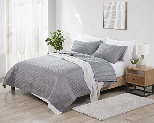 Victoria Classics Jade + Oake   Grid Collection   Quilt Set - Ultra-Soft Solid Embossed, Coverlet Bedding - Lightweight , Breathable and Machine Washable , Queen, Grey