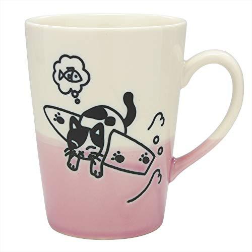 Taza de té japonesa Mino de cerámica de 240 ml, fabricada en Japón, gato surfero blanco rosa K13325