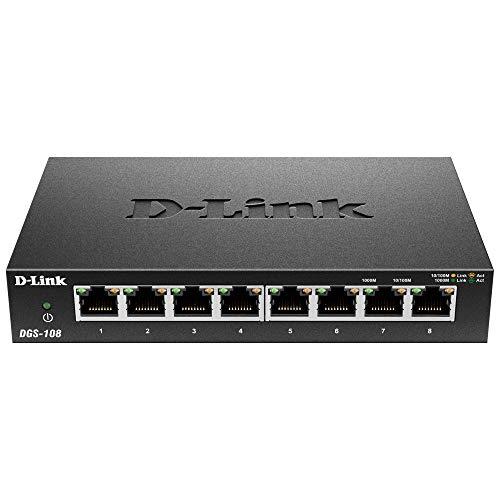 D Link DGS 108 8 Port Layer2 Gigabit Switch bis zu 2000 Mbits Datenubertragung pro Port Non Blocking Architektur lufterlos Metallgehause schwarz Generaluberholt