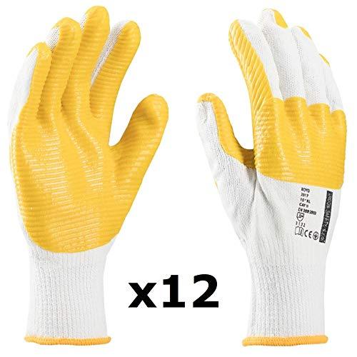 FERTIGER guantes de trabajo, perfectos para adoquines y albañiles, pavimentos, para personas que manejan bloques, ladrillos, guantes de construcción (12 Pares, 10