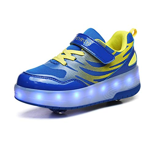 Unisex Niños Niños Niñas LED Moda Doble Ruedas Skateboarding Zapatos Carga USB 7 Colores Flashing Sneaker LED Casual Zapatos Gimnasia Aptitud Rollerblades Aire Libre Deporte Zapatos