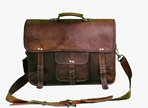 18 Inch Leather Messenger Bag Vintage Handmade for Briefcase Laptop Best Computer Satchel School