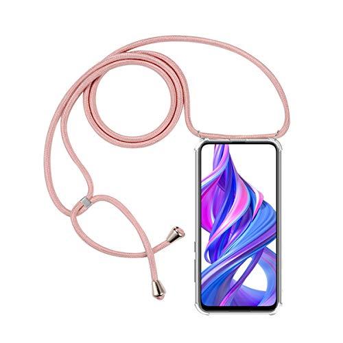 FMPC Carcasa con Cuerda Huawei P Smart Z, Cristal TPU Silicona Transparente Ultrafina de movil Case con Colgante Funda Protector Airbag [Moda y Practico] Anti-rasguños Antichoque